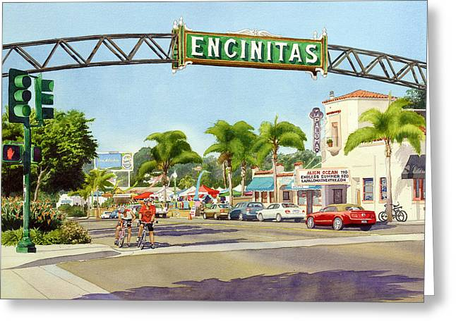 Alien Greeting Cards - Encinitas California Greeting Card by Mary Helmreich