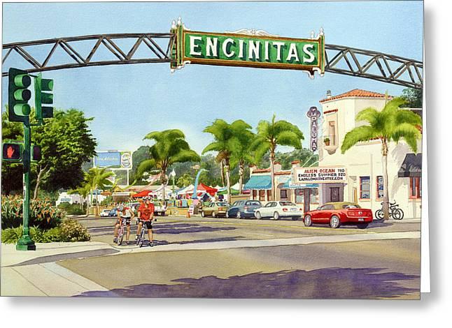 Encinitas California Greeting Card by Mary Helmreich