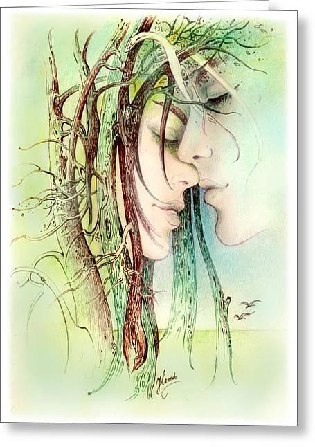 Daydream Drawings Greeting Cards - Encounter  from Love Angels series Greeting Card by Anna Ewa Miarczynska