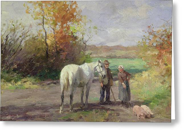 Meeting Photographs Greeting Cards - Encounter On The Way To The Field, 1897 Oil On Panel Greeting Card by Thomas Ludwig Herbst