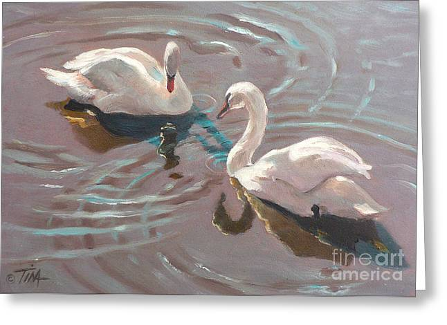 Swans... Greeting Cards - Encounter Greeting Card by Tina Welter