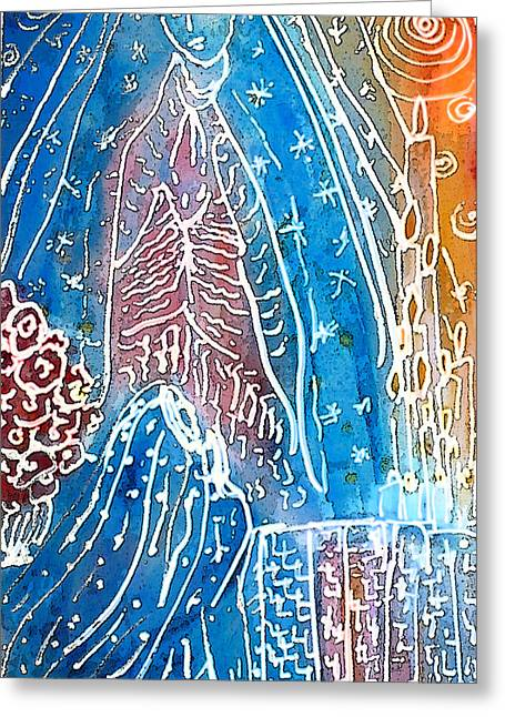 Virgen De Guadalupe Art Greeting Cards - Encounter Greeting Card by  Tolere