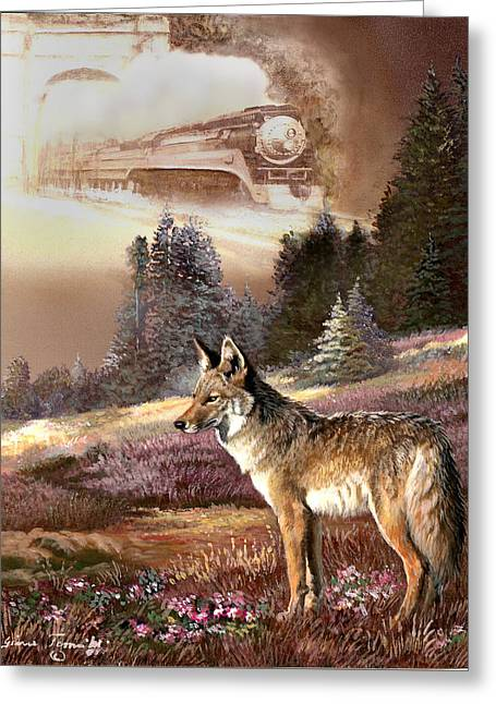 Nature Scene Greeting Cards - Encounter with the iron hors  Greeting Card by Gina Femrite