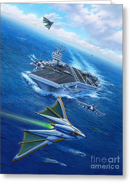 Carrier Greeting Cards - Encountering Atlantis Greeting Card by Stu Shepherd