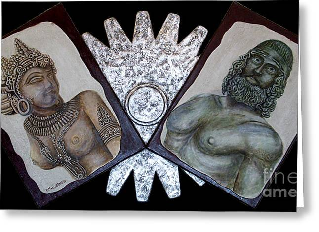 Silver Reliefs Greeting Cards - Encountering The Story Greeting Card by Anna Maria Guarnieri