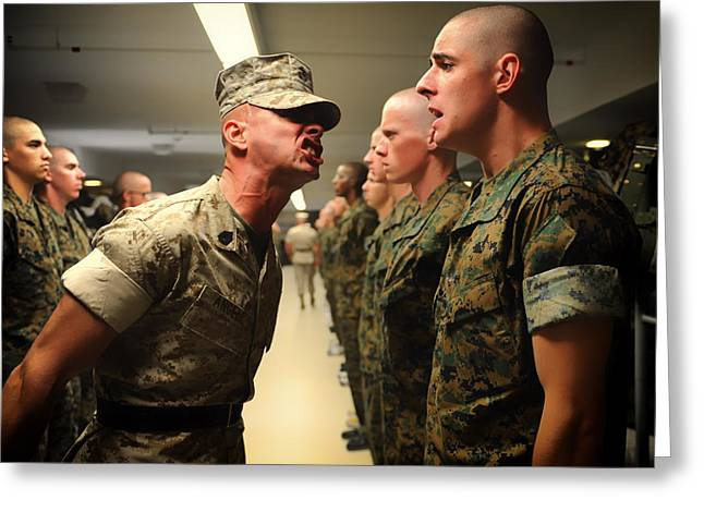 Fatigues Greeting Cards - Encouraging Words from a Marine DI Greeting Card by Mountain Dreams