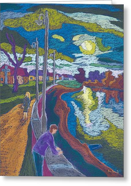 River Bank Greeting Cards - Encouter By Setting Sun, 2008 Pastel On Paper Greeting Card by Marta Martonfi-Benke