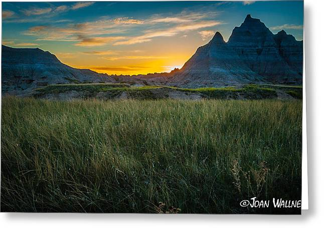 Shades Of Red Greeting Cards - End of a Badlands Day Greeting Card by Joan Wallner