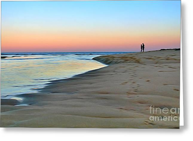 Couple On Beach Greeting Cards - End of a perfect Day Greeting Card by Kaye Menner