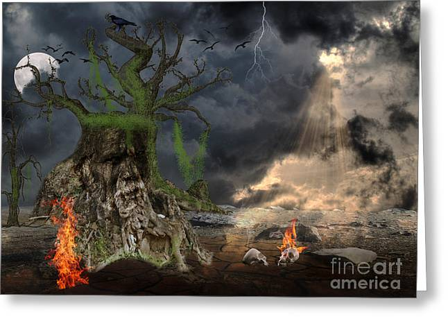 Evil Place Greeting Cards - End of Dark Night Greeting Card by Image World