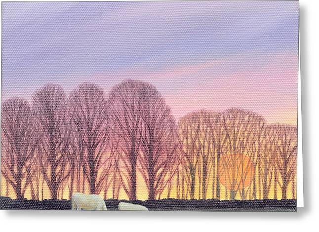 Sheep Grazing Greeting Cards - End Of Day, 2003 Oil On Canvas Greeting Card by Ann Brain