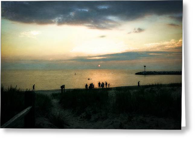 Calm Waters Digital Greeting Cards - End of Day at Leland Harbor Greeting Card by Michelle Calkins