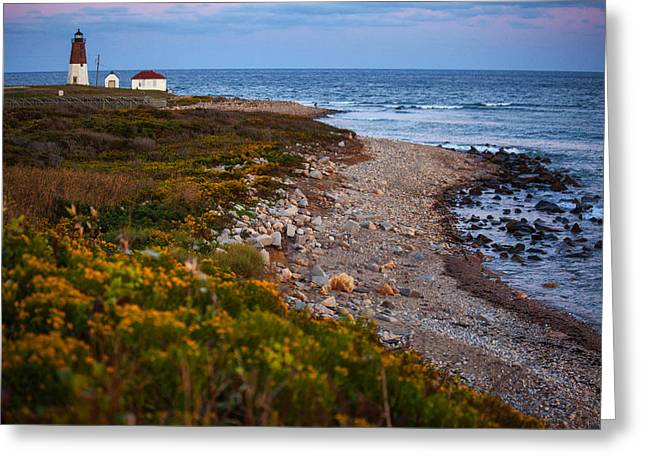 Lighthouse At Sunset Greeting Cards - End Of Day At Port Judith Greeting Card by Karol  Livote