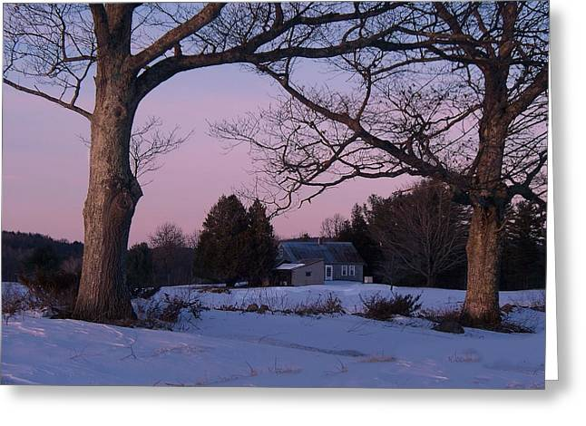 Maine Farmhouse Greeting Cards - End Of Day Greeting Card by Joy Nichols