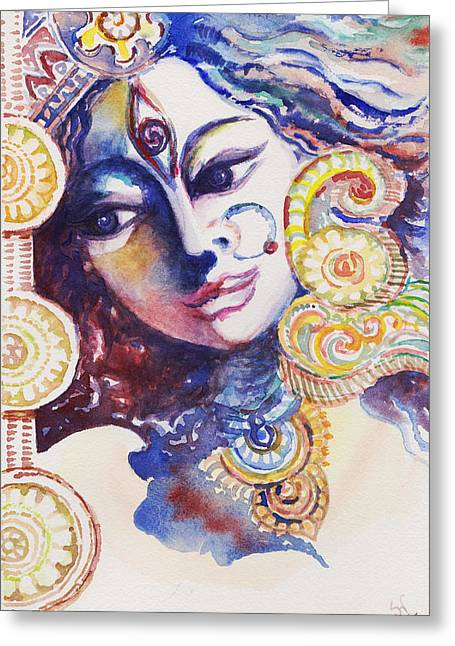 Durga Puja Greeting Cards - End of Festival Greeting Card by Sudakshina Ghosh