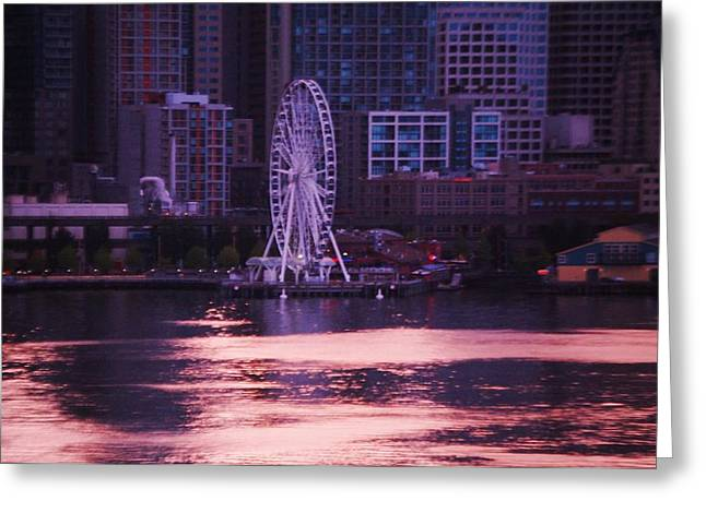 Seattle Waterfront Framed Prints Greeting Cards - End Of My Day In Seattle Greeting Card by Marcus Dagan