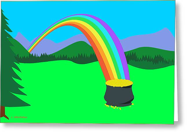 Spectrum Drawings Greeting Cards - End of Rainbow Pot of Gold Greeting Card by John Orsbun