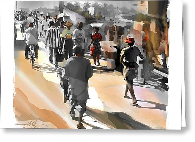 Street Scene Digital Art Greeting Cards - End Of The Day Greeting Card by Bob Salo