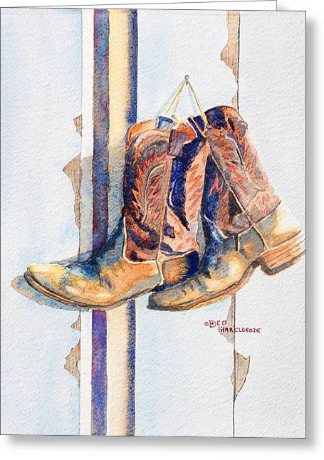 American Cowboy Artist Greeting Cards - End of the Day Greeting Card by Deb  Harclerode
