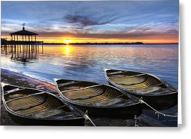 Docked Sailboats Greeting Cards - End of the Day Greeting Card by Debra and Dave Vanderlaan