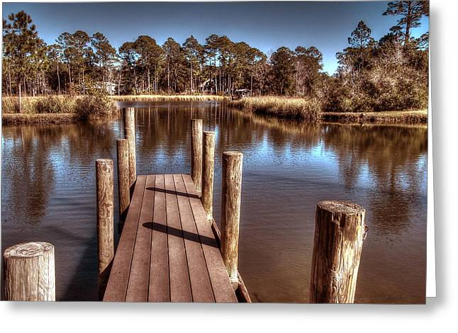 Crimson Tide Greeting Cards - End of the Dock Greeting Card by Michael Thomas
