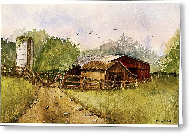 Gravel Road Paintings Greeting Cards - End of the Gravel Road Greeting Card by Barry Jones