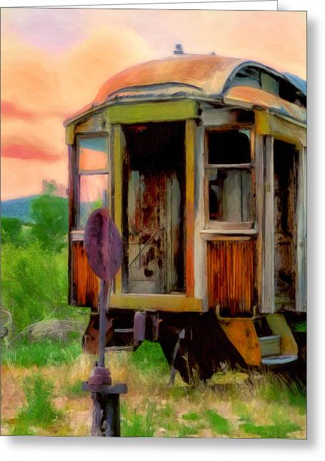 Rusted Cars Paintings Greeting Cards - End of the Line Greeting Card by Michael Pickett