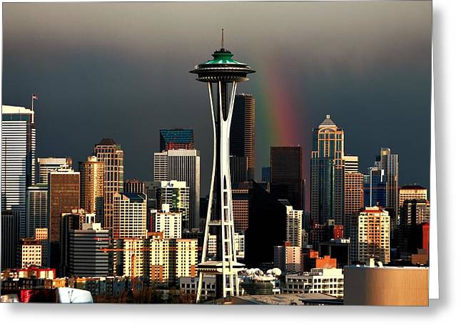 Seattle Skyline Greeting Cards - End of the Rainbow Greeting Card by Benjamin Yeager