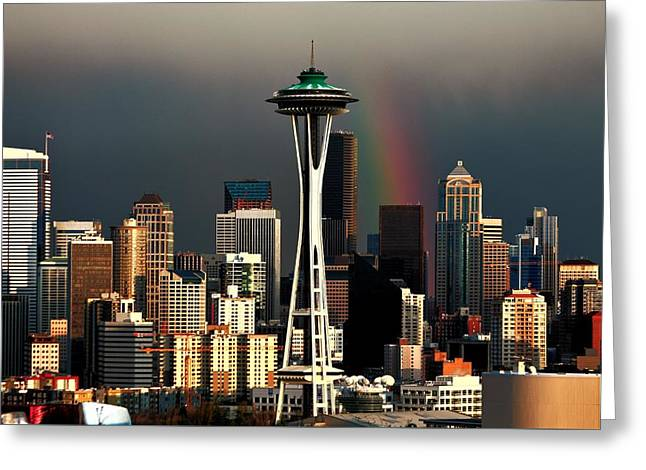 Urban Space Greeting Cards - End of the Rainbow Greeting Card by Benjamin Yeager