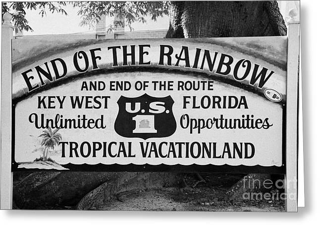 Vacationland Greeting Cards - End Of The Rainbow Sign Us Route 1 Key West Florida Usa Greeting Card by Joe Fox