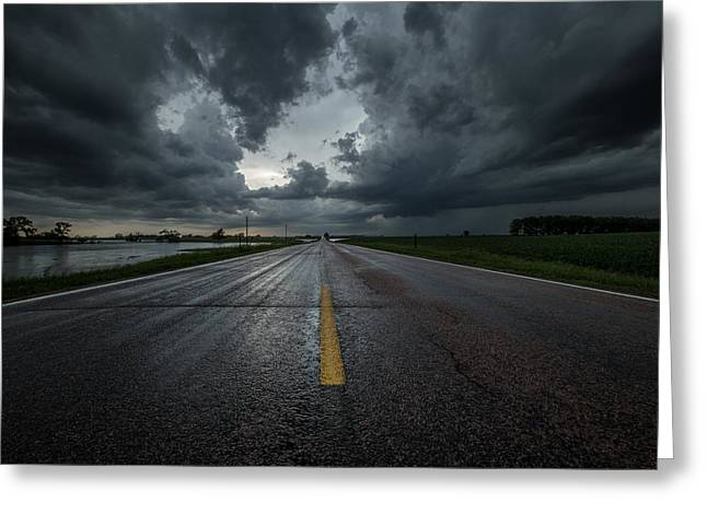 Thunderstorm Greeting Cards - End of the Road Greeting Card by Aaron J Groen