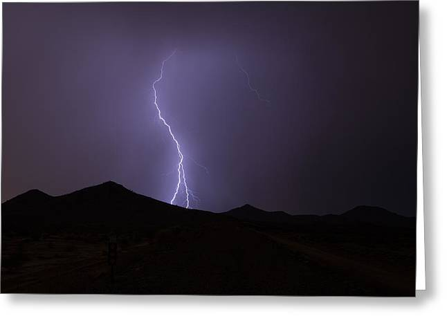Arizona Lightning Greeting Cards - End Of The Road Greeting Card by Cathy Franklin