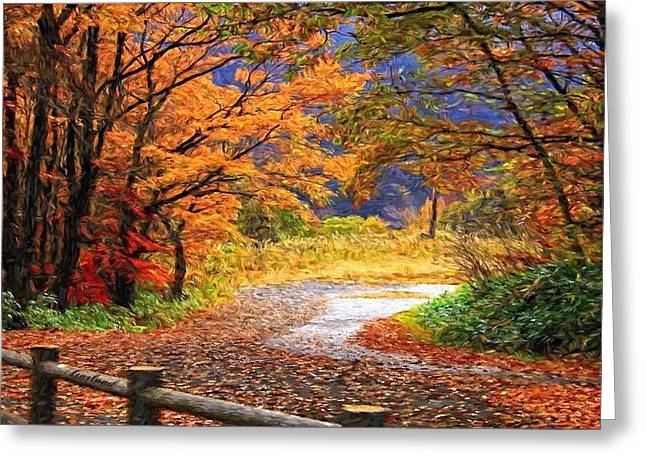 Winter Roads Mixed Media Greeting Cards - End Of The Road Greeting Card by Garland Johnson