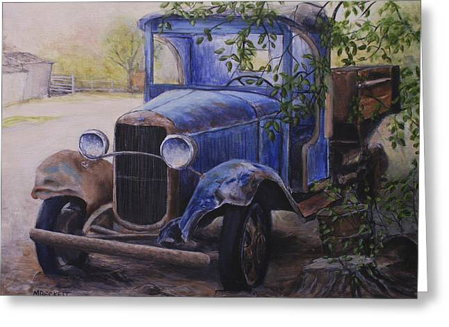 Classic Pickup Paintings Greeting Cards - End Of The Road Greeting Card by Michael Beckett