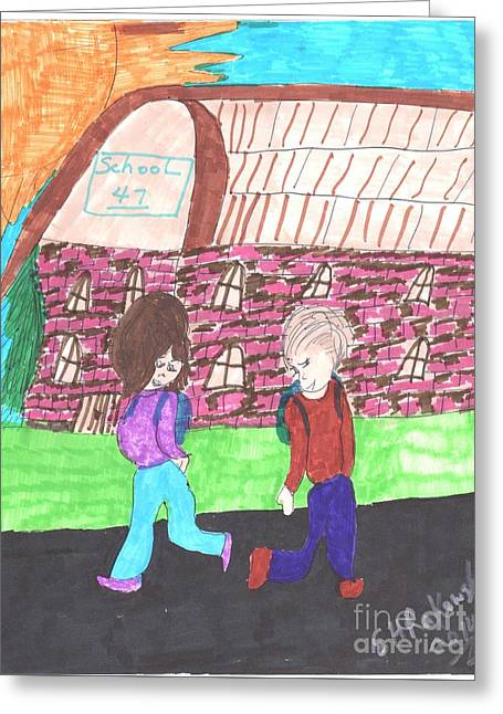 School Houses Mixed Media Greeting Cards - End of the School Year Greeting Card by Elinor Rakowski