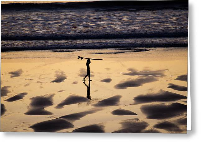 Poster Art Greeting Cards - End of the surfing session Greeting Card by Jb Atelier