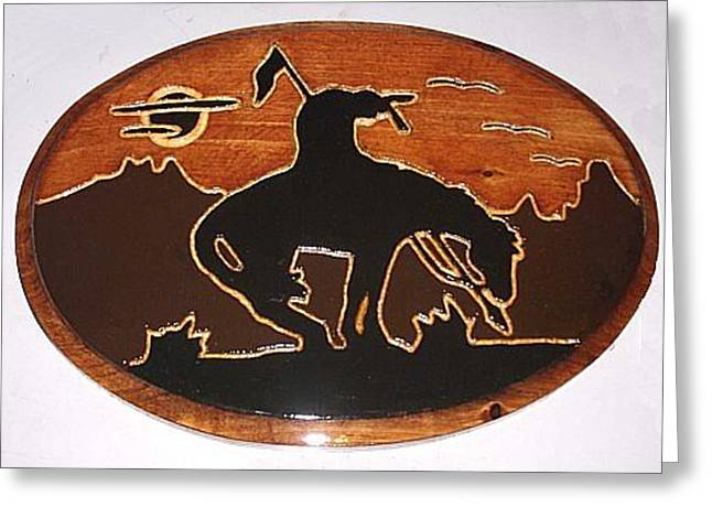 Silhouette Sculptures Greeting Cards - End Of The Trail -large Greeting Card by Black Wolf