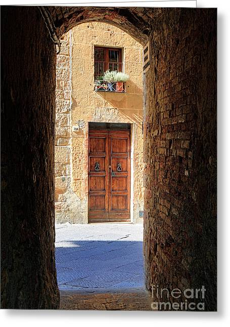 Pienza Greeting Cards - End of the Tunnel Greeting Card by Inge Johnsson