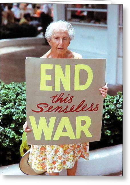 Republican Greeting Cards - End This Senseless War Greeting Card by Daniel Gomez