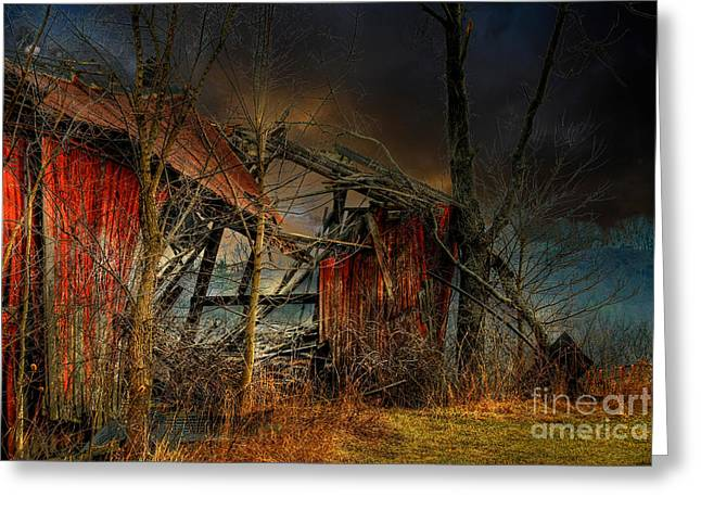 Creepy Digital Art Greeting Cards - End Times Greeting Card by Lois Bryan
