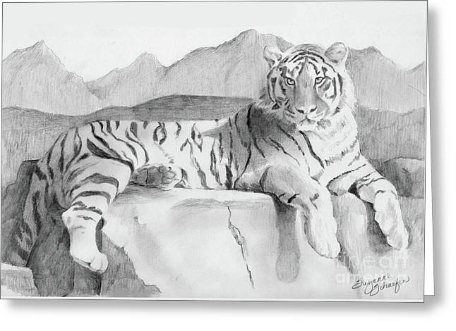 Tiger Illustration Greeting Cards - Endangered Species - Tiger Greeting Card by Suzanne Schaefer