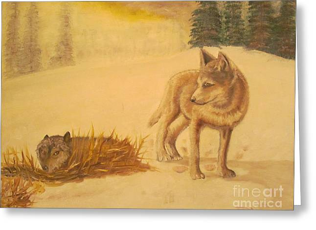 Animal Art Greeting Cards - Endangered Wolves - Original Oil Painting Greeting Card by Anthony Morretta
