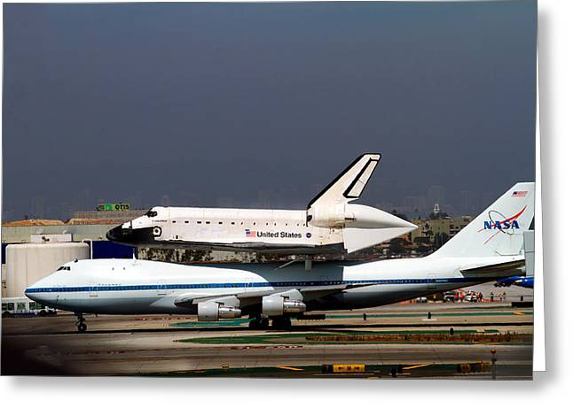 Endeavor And Nasa 747 Taxi After Final Landing Greeting Card by Denise Dube
