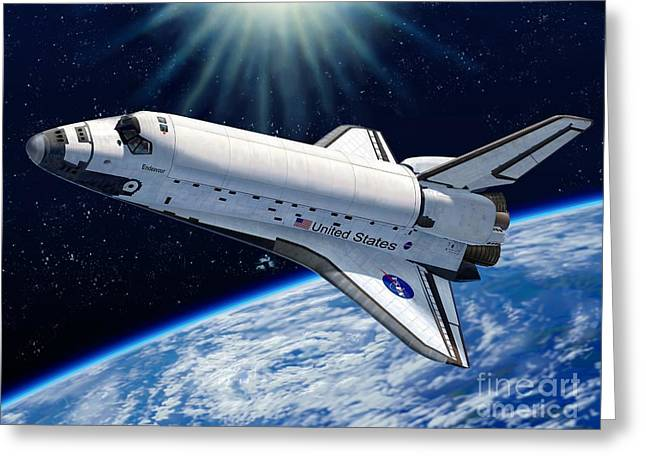 Space Shuttle Greeting Cards - Endeavour In Space Greeting Card by Stu Shepherd