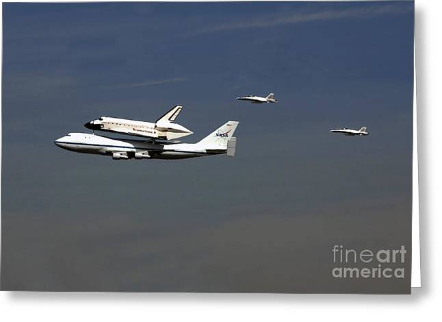 Endeavour Space Shuttle In La With Escort Fighter Jets  Greeting Card by Howard Koby