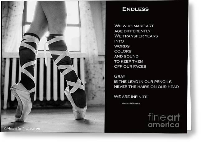 Ballet Of Colors Greeting Cards - Endless Ballet  Black Greeting Card by Maketta Wilcoxson