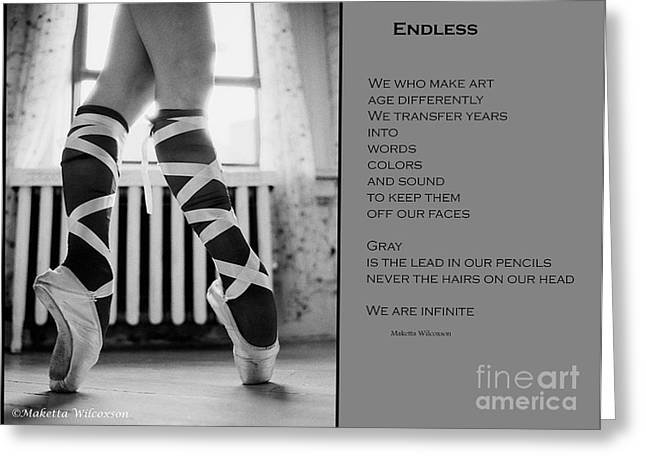 Ballet Of Colors Greeting Cards - Endless Ballet  Gray  Greeting Card by Maketta Wilcoxson