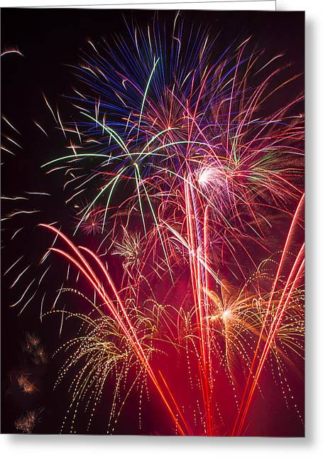 Pyrotechnics Greeting Cards - Endless Fireworks Greeting Card by Garry Gay