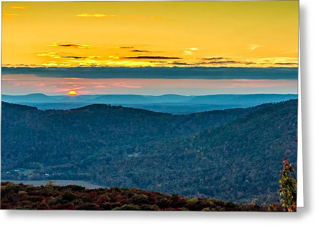 Worlds End Greeting Cards - Endless Mountains Sunset 3 Greeting Card by Steve Harrington
