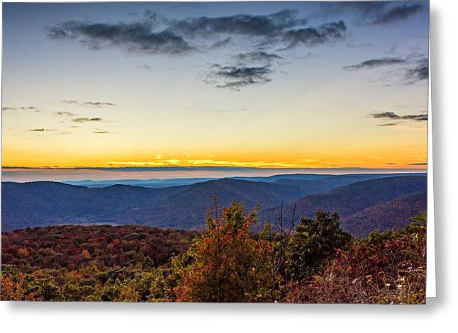 Worlds End Greeting Cards - Endless Mountains Sunset  Greeting Card by Steve Harrington